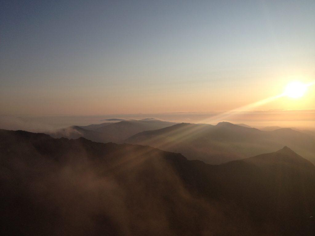 Sunrise over Garnedd Ugain and Crib Goch